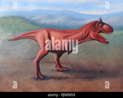 Carnotaurus, oil painting on canvas - Stock Photo