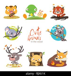 cute animals with scenery set - Stock Photo