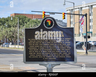 Historical marker describing the slave market or markets in Montgomery Alabama USA during the 1800's, also known as slave trade. - Stock Photo