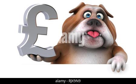 Fun bulldog - 3D Illustration - Stock Photo