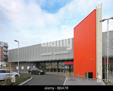 Main entrance of the new Emergency Department at Croydon University Hospital, south London, UK, opened December 2018. - Stock Photo