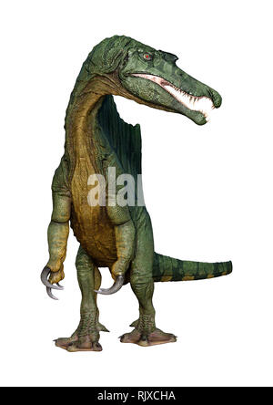 3D rendering of a dinosaur Spinosaurus isolated on white background - Stock Photo