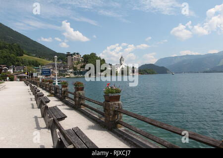 Town of St. Wolfgang / The small tourist town St. Wolfgang on the banks of the Wolfgangsee in Austria - Stock Photo