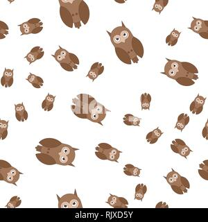 Seamless pattern made of owls. Vector illustration in cartoon style. - Stock Photo