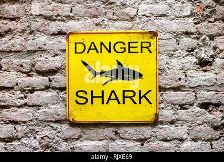 Danger Shark yellow warning sign on an old brick wall with a picture of a shark and text in a close up view - Stock Photo