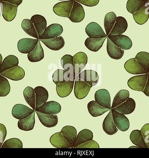 Seamless pattern with hand drawn colored clover
