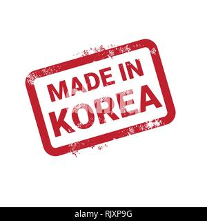 Made In Korea Stamp Grunge Sticker Isolated Template On White Background - Stock Photo