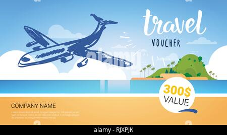 Travel Company Template Voucher With Airplane Flying Over Beautiful Tropical Beach Background Tourist Agency Poster Design - Stock Photo