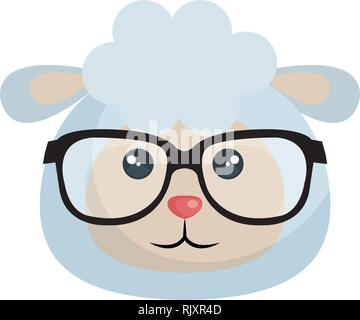 cute little sheep character - Stock Photo