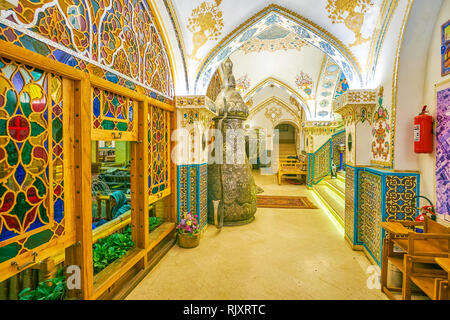 ISFAHAN, IRAN - OCTOBER 19, 2017: The elegant interior of Baastan restaurant with main Persian decoration elements creates unique atmosphere of Shah's - Stock Photo