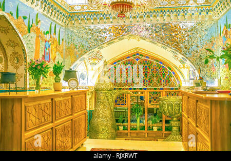 ISFAHAN, IRAN - OCTOBER 19, 2017: The reception desk of Baastan restaurant in center of Isfahan, on October 19 in Isfahan - Stock Photo