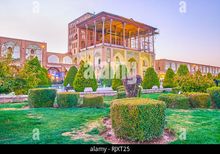 ISFAHAN, IRAN - OCTOBER 19, 2017: Ali Qapu Palace is the most beautiful buildings in Isfahan, was the residence of Persian Shah, on October 19 in Isfa - Stock Photo