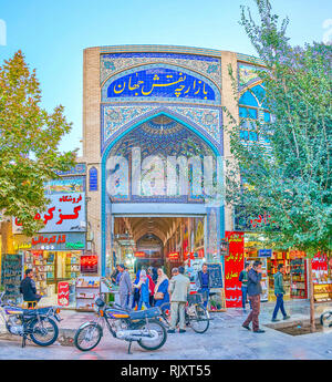 ISFAHAN, IRAN - OCTOBER 19, 2017: The beautiful tiled entrance to Mesgarha Bazaar, the central market in the city, on October 19 in Isfahan - Stock Photo