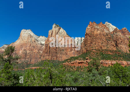 The Court of the Patriarchs (L-R: Abraham Peak, Isaac Peak, and Jacob Peak) in Zion National Park, Springdale, Utah, United States. - Stock Photo