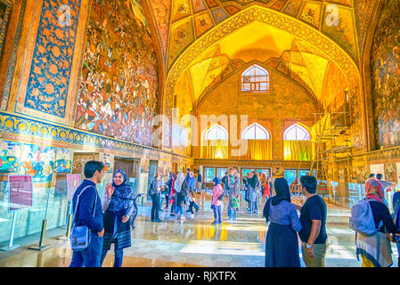ISFAHAN, IRAN - OCTOBER 19, 2017: Beautiful main hall of Chehel Sotoun Palace with huge frescoes and vaulted ceilings, on October 19 in Isfahan - Stock Photo