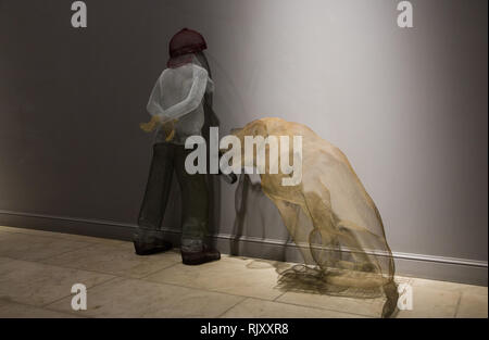 Exhibition of paintings and various wire figures handmade by young artist Katya Melkadze in Moscow, Moscow, Russia February 3, 2019 - Stock Photo