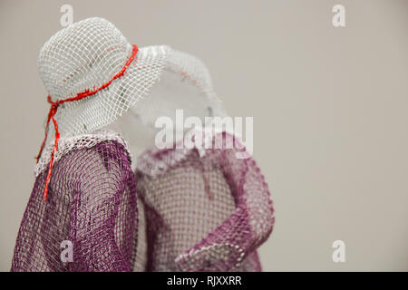 Exhibition of paintings and various wire figures handmade by young artist Katya Melkadze in Moscow, Moscow, Russia February 3, 2019. - Stock Photo