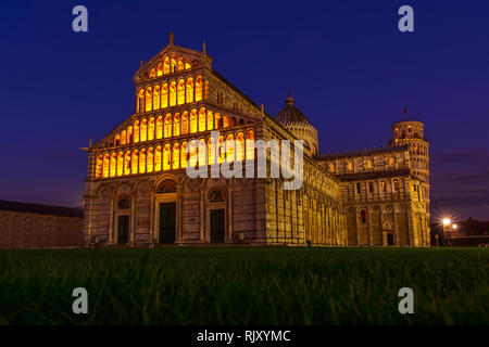 Pisa Cathedral and the Leaning Tower on Square of Miraclesnight illumination view, Italy