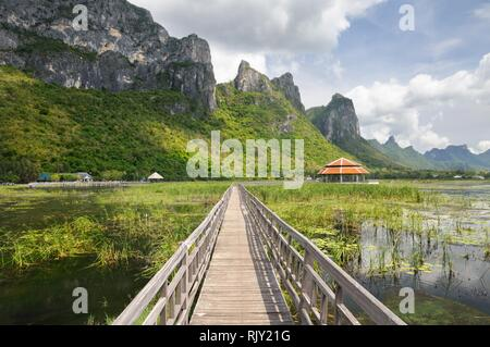 Wooden footpath through wetlands and swamp covered with water lily and reed at the foot of the mountain in Khao Sam Roi Yot National Park in Thailand - Stock Photo