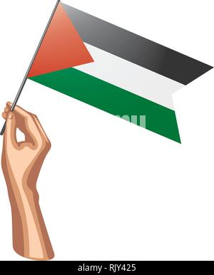 Palestine flag and hand on white background. Vector illustration - Stock Photo