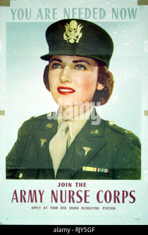 World War II Recruiting poster for the United States Army Nurse Corps (founded 1901) - Stock Photo