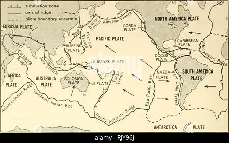 . Atoll research bulletin. Coral reefs and islands; Marine biology; Marine sciences. Figure 1. The Pacific lithospheric plate, the surface of the Pacific plate but the majority of these igneous monoliths appear never to have reached the ocean surface and have therefore been preserved intact from alterations associated with subaerial weathering and erosion. Only occasionally do Pacific seamounts break the ocean surface forming islands. Some of these islands reflect characteristics of the submerged seamounts but take the form of tall volcanic peaks. More frequently they take the form of seamount - Stock Photo