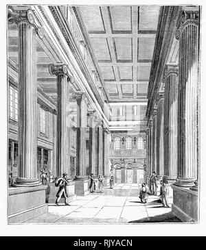 The hall of the General Post Office built on the eastern side of St. Martin's Le Grand in the City of London between 1825 and 1829, to designs by Robert Smirke, was the main post office for London between 1829 and 1910, the headquarters of the General Post Office of the United Kingdom of Great Britain and Ireland, and England's first purpose-built post office. It was demolished in 1912. - Stock Photo