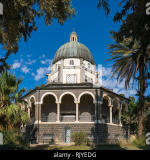 Church on the Mount of Beatitudes near Lake Kinneret, Israel - Stock Photo