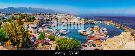 Kyrenia marina in Cyprus, as seen from the overlooking hill - Stock Photo