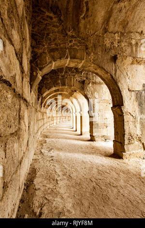 Halls of Roman theatre at Aspendos in Antalya, Turkey - Stock Photo