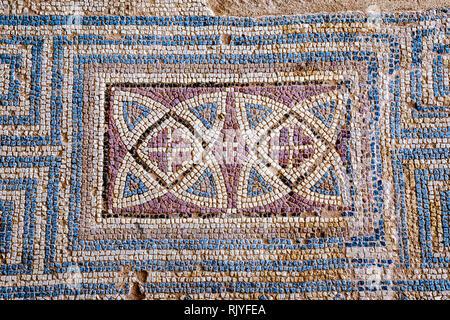 Floor tiles in Kourion, Cyprus have recently been restored - Stock Photo