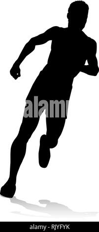 Runner Racing Track and Field Silhouette - Stock Photo