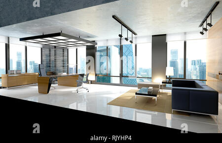 3d render modern office interior - Stock Photo