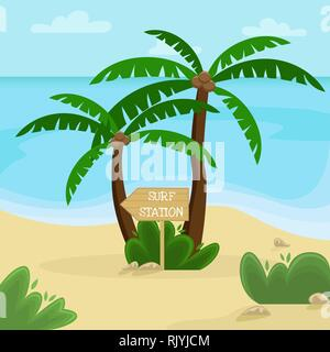 Beach landscape. Palm trees with a wooden pointer to the surf station. Flat vector illustration. - Stock Photo