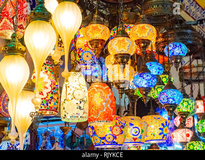 Multicolored authentic lamps hanging at the Grand Bazaar in Istanbul, Turkey - Stock Photo