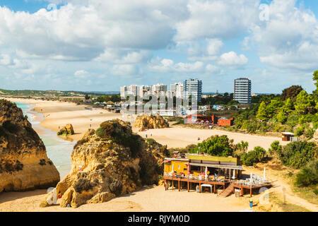 Food and drink bar on sandy beach, high level view, Alvor, Algarve, Portugal, Europe - Stock Photo