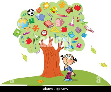 The illustration shows the tree. Instead of leaves shows the attributes and items for school. Under the tree is a child lost in thought. Illustration  - Stock Photo