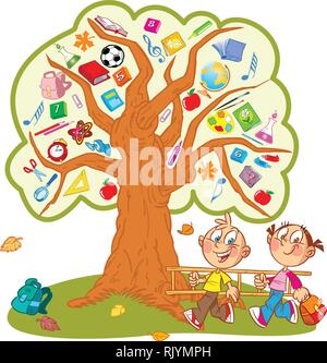 The illustration shows the tree. Instead of leaves shows the attributes and items for school. Under the tree, funny boy and girl carry a ladder to cli - Stock Photo