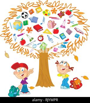 The illustration shows the tree. Instead of leaves shows the attributes and items for school.  Under the tree, funny boy and girl, they indicate on th - Stock Photo
