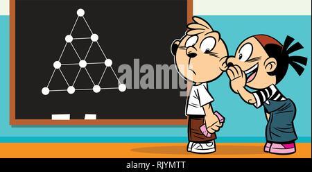 The illustration  girl and boy cartoon in the class. Îíè decide on a blackboard lesson. - Stock Photo