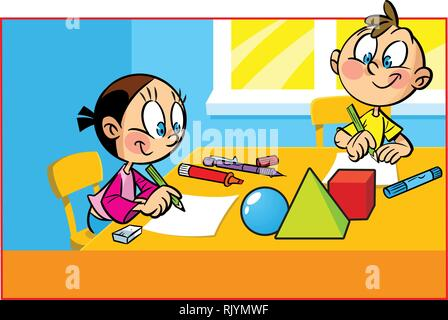 Children sit at a table in the room.  Boy and a girl draw with crayons on paper. - Stock Photo