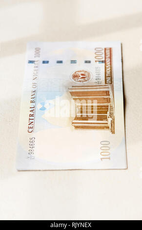 Nigerian Money - The Nigerian 1000 Naira note - Stock Photo