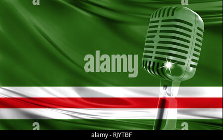Microphone on fabric background of flag of Chechen Republic of Ichkeria close-up - Stock Photo