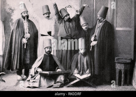 Group of dervishes. Photo. Beginning of the 20th century. - Stock Photo