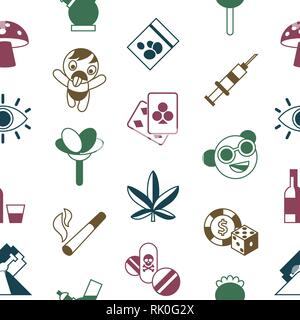 Digital vector freaks and drugs simple icons, flat style seamless pattern infographics - Stock Photo