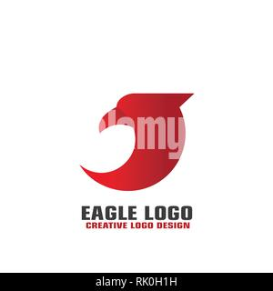 Red Eagle graphic logo template, isolated on white background, vector eagle head icon. - Stock Photo