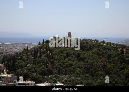 Athens Greece View of Filopappou Hill From the Acropolis - Stock Photo