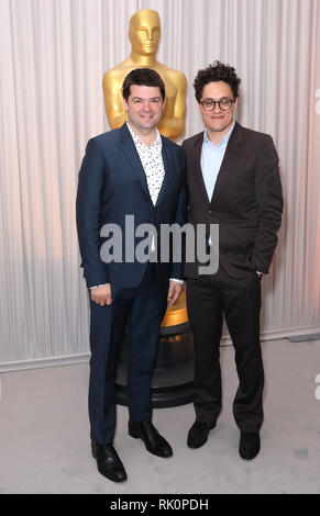 Chris Miller (left) and Phil Lord attending the Oscars Nominee Champagne Tea Reception held at the Claridge's Ballroom in London, UK. - Stock Photo