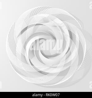 White Circle Abstract Digital Flower. 3D Illustration. - Stock Photo