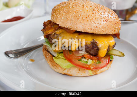 Burger Deluxe - Best Fast Food - Stock Photo